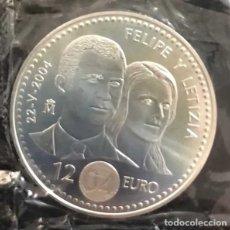 Monedas de Felipe VI: MONEDA 12 EUROS 2004 BODA FELIPE Y LETICIA PLATA SC FMNT SIN ESTUCHE. Lote 178210765