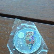 Monedas de Felipe VI: 30 € DE PLATA SC ESPAÑA. 50 AÑOS DE FELIPE VI. ESCUDO COLOREADO.. Lote 178371655