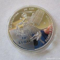 Monedas de Felipe VI: EL QUIJOTE . 10 EURO DE PLATA DEL 2005 . LA AVENTURA DE LOS MOLINOS . RARA. Lote 180136116