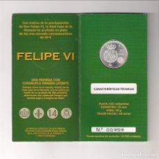 Monedas de Felipe VI: CARTERA NUMERADA DE FELIPE VI DE 30 EUROS DE 2014. PLATA. PROCLAMACIÓN DE FELIPE VI. SIN CIRCULAR.. Lote 180946357