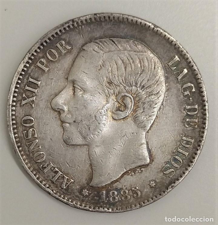 1885 ESPAÑA - 5 PESETAS - ALFONSO XII MSM - MBC+ PLATA (Numismática - España Modernas y Contemporáneas - Felipe VI)