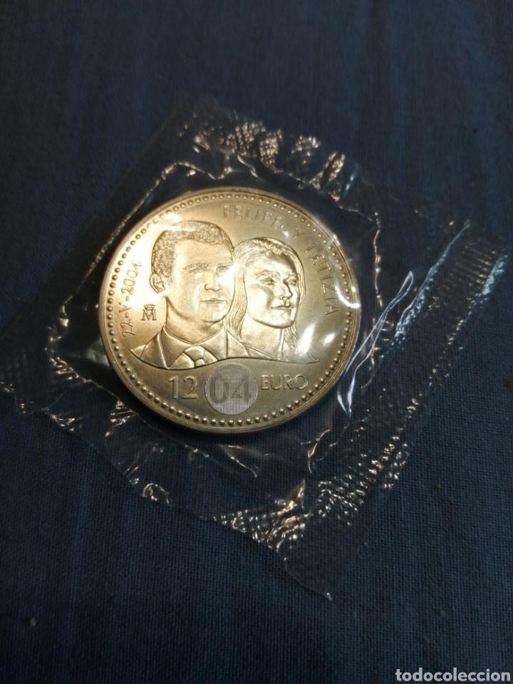 MONEDA PLATA 12 € BODA PRÍNCIPE DE ASTURIAS 2004 (Numismática - España Modernas y Contemporáneas - Felipe VI)
