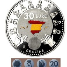 Monedas de Felipe VI: ESPAÑA 30 EURO PLATA 2020 S/C AGRADECIMENTO A COLECTIVOS PROFESIONALES. Lote 224586333