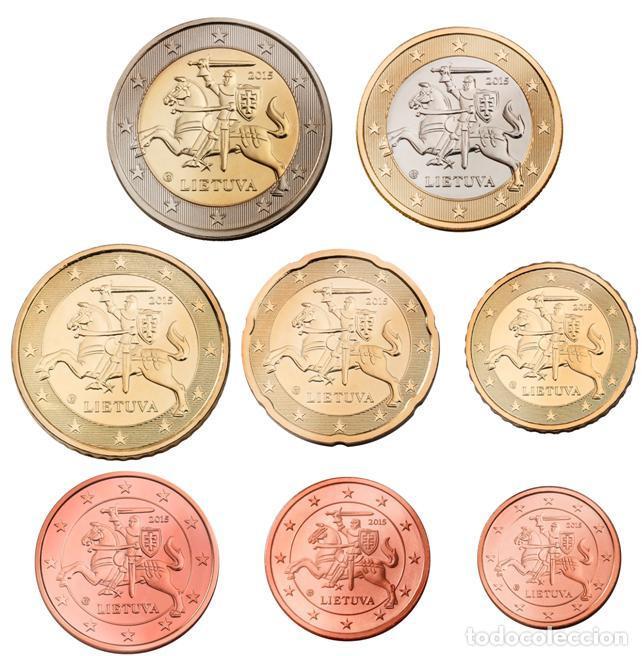 SERIE / SET LITUANIA 2015 8 VALORES EUROS (Numismática - España Modernas y Contemporáneas - Felipe VI)