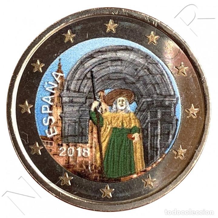 ESPAÑA 2 EUROS 2018 MULTICOLOR CASCO ANTIGUO SANTIAGO DE COMPOSTELA (Numismática - España Modernas y Contemporáneas - Felipe VI)