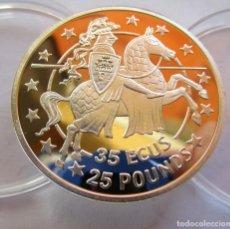 Monedas de Felipe VI: GIBRALTAR . 35 ECUS - 25 POUNDS DE PLATA . PERFECTA . TAMAÑO GRANDE . CAPSULA ORIGINAL. Lote 254122945