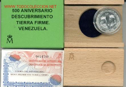 MONEDA 3 E. 1998. 500 ANIVERSARIO DESCUBRIMIENTO TIERRA FIRME. VENEZUELA. REYES CATÓLICOS. ESPAÑA. (Numismática - España Modernas y Contemporáneas - FNMT)
