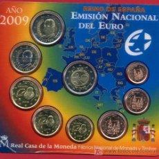 Monedas FNMT: CARTERA OFICIAL EUROS 2009 , SET ESPAÑA , ORIGINAL , 9 MONEDAS. RB. Lote 268848374