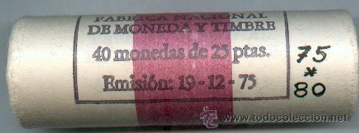 CARTUCHO ORIGINAL DE LA F.N.M.T. 40 MONEDAS DE 25 PESETAS AÑO 1975*80 (Numismática - España Modernas y Contemporáneas - FNMT)