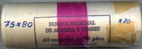 CARTUCHO ORIGINAL DE LA F.N.M.T. 40 MONEDAS DE 50 PESETAS AÑO 1975*80 (Numismática - España Modernas y Contemporáneas - FNMT)
