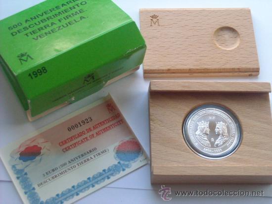 3 EUROS PLATA 1998 DESCUBRIMIENTO TIERRA FIRME VENEZUELA COMPLETO (Numismática - España Modernas y Contemporáneas - FNMT)