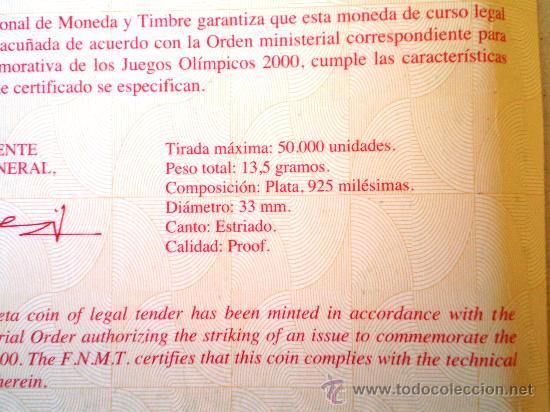 Monedas FNMT: 1000 Pesetas 1999 Juegos Olimpicos 2000 Ver Fotos - Foto 3 - 30747163