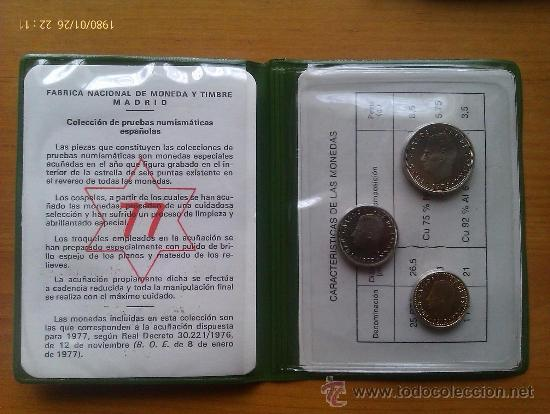 Monedas FNMT: Cartera Oficial Juan Carlos I. 1977. España. Proof. 3 Valores en Prueba. - Foto 2 - 34494519