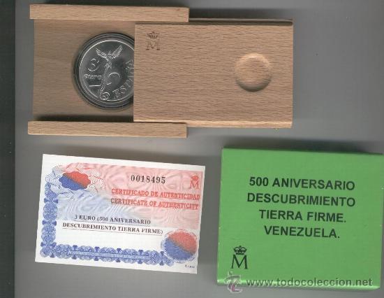 INVIERTA EN MONEDA DE PLATA PROOF AÑO 1998 3 EUROS 500 ANIVERSARIO DEL DESCUBRIMIENTO TIERRA FIRME (Numismática - España Modernas y Contemporáneas - FNMT)