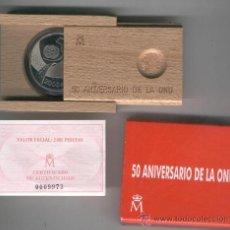 Monedas FNMT: INVIERTA EN MONEDA DE PLATA PROOF ESPAÑA 50 ANIVERSARIO DE LA ONU AÑO 1995 200 PESETAS. Lote 35597199