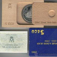 Monedas FNMT: INVIERTA EN MONEDA DE PLATA PROOF FLOR DE CUÑO ONZA TROY DE PLATA PURA 5 ECU AÑO 1993 DON JUAN BORBO. Lote 35597758
