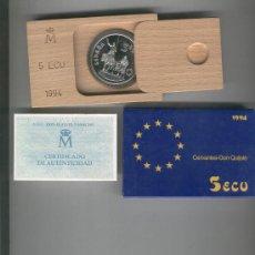 Monedas FNMT: INVIERTA EN MONEDA DE PLATA PROOF FLOR DE CUÑO ONZA TROY DE PLATA PURA 5 ECU AÑO 1994 CERVANTES QUIJ. Lote 35597778