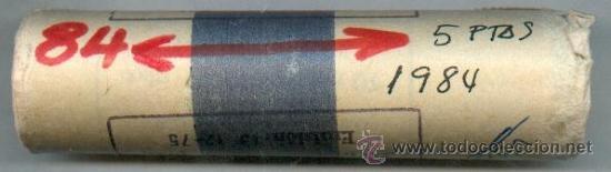 CARTUCHO ORIGINAL DE LA F.N.M.T. 50 MONEDAS DE 5 PESETAS AÑO 1984 (Numismática - España Modernas y Contemporáneas - FNMT)