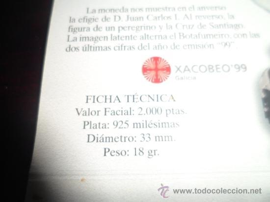 Monedas FNMT: 2000 ptas PLATA 925. XACOBEO99 SANTIAGO, GALICIA - Foto 9 - 37503754