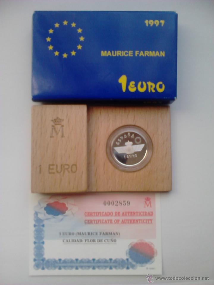 MONEDA 1 EURO. 1997. HOMENAJE A LA AVIACIÓN ESPAÑOLA. MAURICE FARMAN. ESPAÑA. (Numismática - España Modernas y Contemporáneas - FNMT)