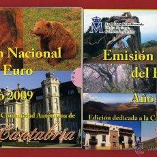 Monedas FNMT: 2 CARTERAS SETS, ESPAÑA EUROS 2009 , CANTABRIA Y CANARIAS , AUTONOMIAS. ORIGINALES FNMT ,RB. Lote 40897384