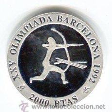 Monedas FNMT: 2000 PESETAS PLATA 1990 JUEGOS OLIMPICOS DEL 92 ARQUERO. Lote 43649953