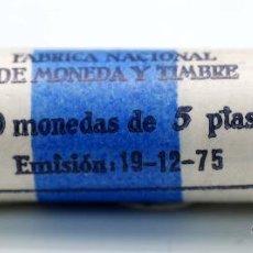Monedas FNMT: CARTUCHO FNMT 50 MONEDAS 5 PESETAS EMISIÓN 19/12/1975 ESTRELLA 79. Lote 101986924