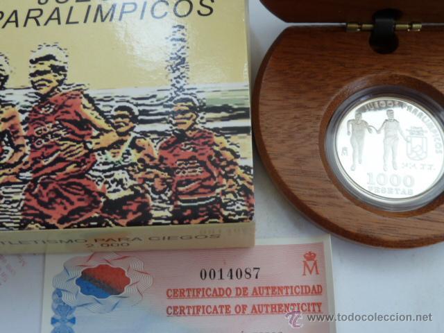 ESPAÑA MONEDA DE 1000 PESETAS PLATA 2000 ATLETISMO CORREDOR CIEGO JUEGOS PARAOLIMPICOS PROOF (Numismática - España Modernas y Contemporáneas - FNMT)