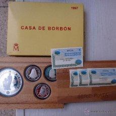 Monedas FNMT: ESTUCHE 4 MONEDAS PLATA CASA BORBON 1997 , CINCUENTIN Y 3 DE 2000 PESETAS , ORIGINAL. Lote 49214979