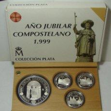 Monedas FNMT: ESTUCHE DE MONEDAS DE PLATA. SERIE COMPLETA ESPAÑA. AÑO JUBILAR COMPOSTELANO 1999 - JACOBEO.. Lote 50230993