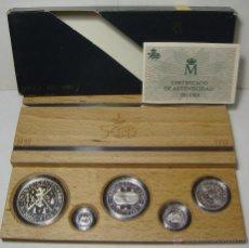 Monedas FNMT: COLECCION 5 VALORES. PLATA. V CENTENARIO. SERIE II 2ª. AÑO 1989. ENCAPSULADAS Y CON ESTUCHE.. Lote 50237192