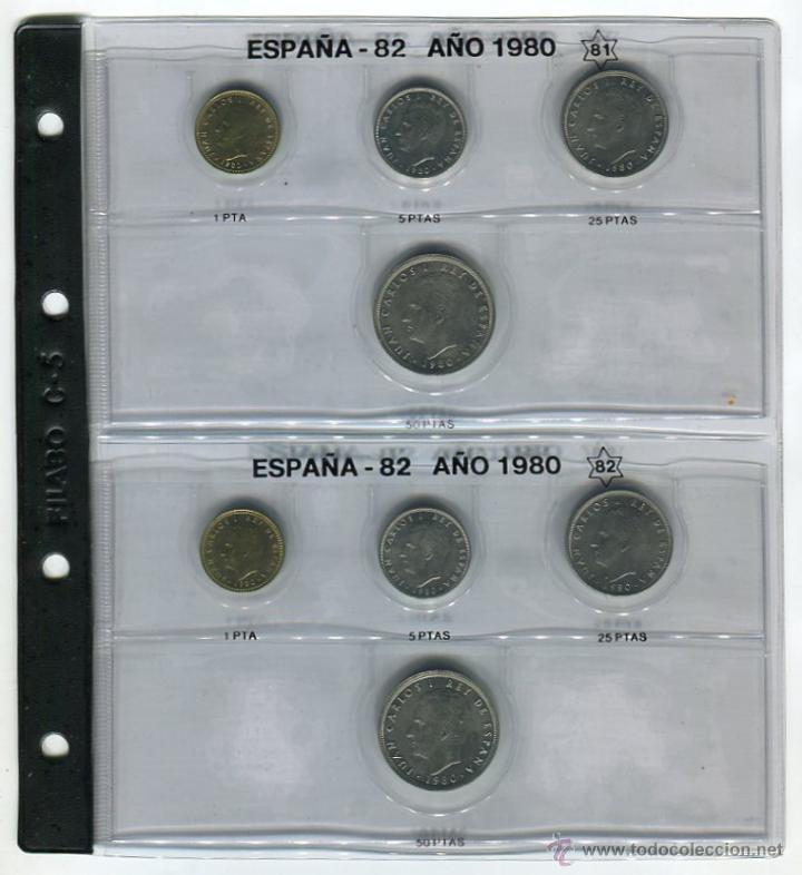 HOJA CON LAS MONEDAS DEL AÑO 1980 *81 Y *82 S/C HOJA FILABO INCLUIDA (Numismática - España Modernas y Contemporáneas - FNMT)