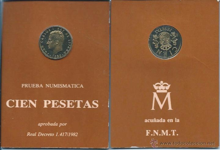 LOTE 2 CARTERAS PRESENTACIÓN PRUEBAS NUMISMATICAS 100 PESETAS 1982-JUEGO: °FLOR LIS ARRIBA -2° ABAJO (Numismática - España Modernas y Contemporáneas - FNMT)