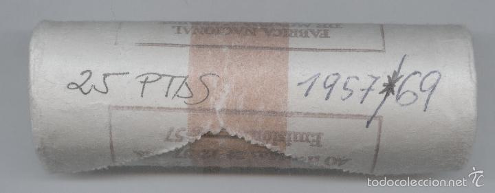 CARTUCHO ORIGINAL DE LA F.N.M.T. 40 MONEDAS DE 25 PESETAS FRANCISCO FRANCO AÑO 1957*69 (Numismática - España Modernas y Contemporáneas - FNMT)