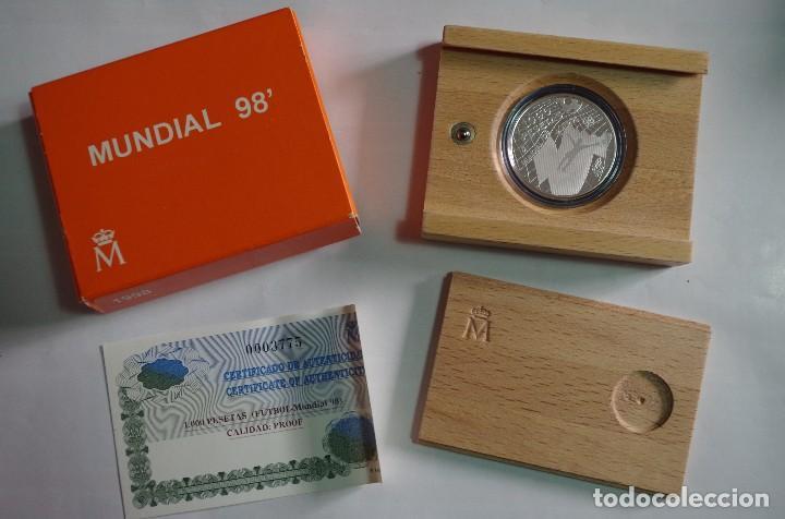 MONEDA 1000 PTS - 1998 - PLATA PROOF - MUNDIAL 98 - CON CERTIFICADO Y ESTUCHE (Numismática - España Modernas y Contemporáneas - FNMT)