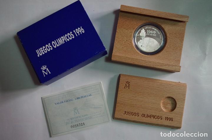 MONEDA 1000 PTS - 1995 - PLATA PROOF - JUEGOS OLIMPICOS 96 - CON CERTIFICADO Y ESTUCHE (Numismática - España Modernas y Contemporáneas - FNMT)