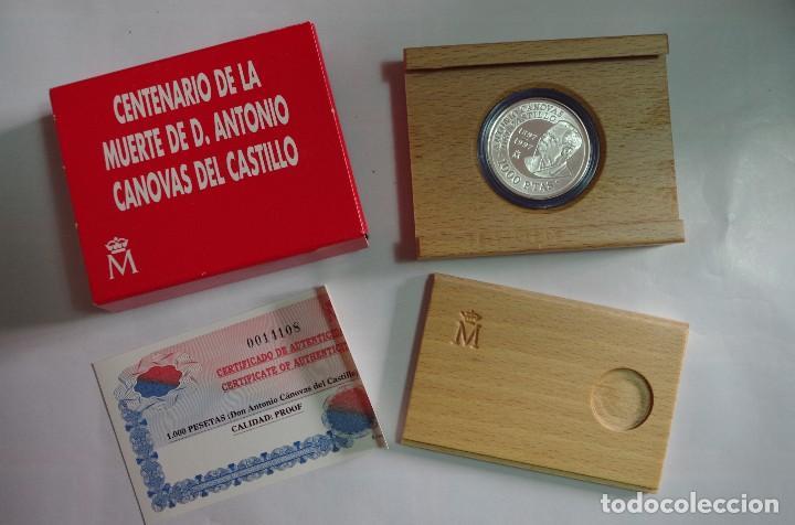 MONEDA 1000 PTS - 1997 - PLATA PROOF - CENTENARIO DE LA MUERTE CANOVAS - CON CERTIFICADO Y ESTUCHE (Numismática - España Modernas y Contemporáneas - FNMT)