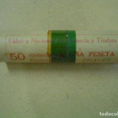 Monedas FNMT: CARTUCHO DE 50 MONEDAS DE 1 PESETA- AÑO 1953 ESTRELLA 62- FNMT. Lote 78626041