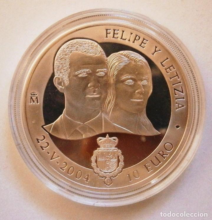 MONEDA CONMEMORATIVA 10 € BODA DE EL PRÍNCIPE DE ASTURIAS CON DOÑA LETICIA ORTIZ 2004 (Numismática - España Modernas y Contemporáneas - FNMT)