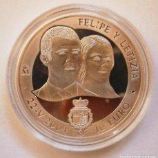 Monedas FNMT: MONEDA CONMEMORATIVA 10 € BODA DE EL PRÍNCIPE DE ASTURIAS CON DOÑA LETICIA ORTIZ 2004. Lote 80299021