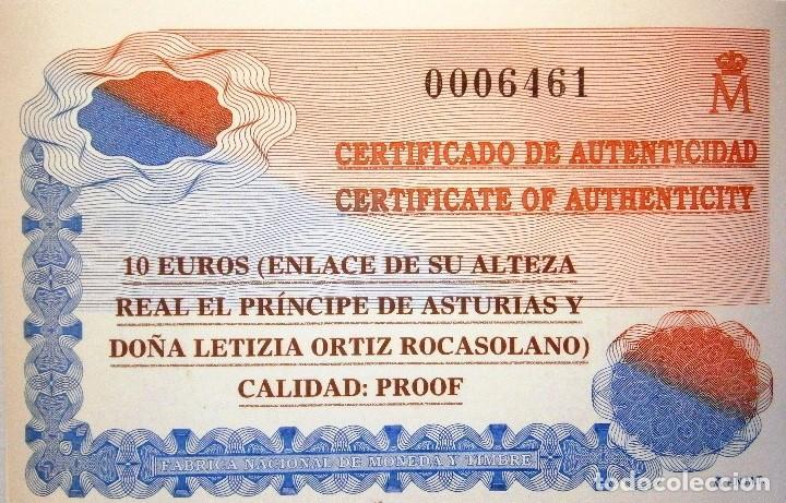 Monedas FNMT: Moneda Conmemorativa 10 € Boda de El Príncipe de Asturias con Doña Leticia Ortiz 2004 - Foto 3 - 80299021