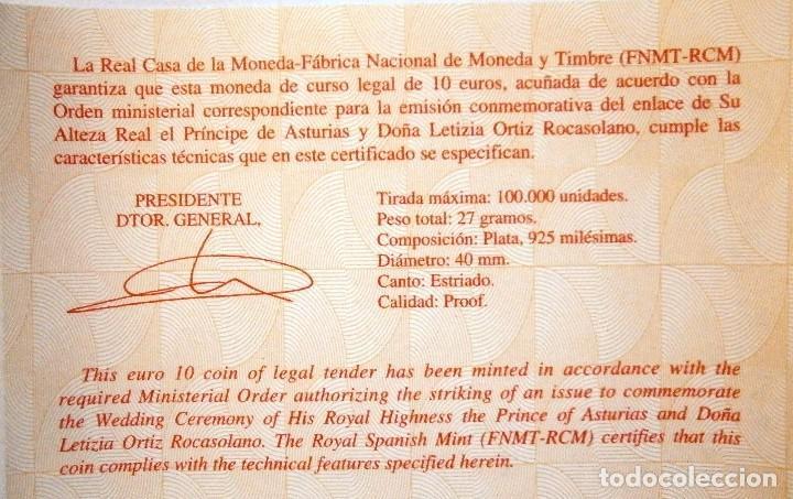 Monedas FNMT: Moneda Conmemorativa 10 € Boda de El Príncipe de Asturias con Doña Leticia Ortiz 2004 - Foto 4 - 80299021