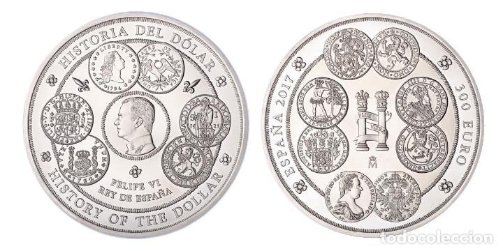 Monedas FNMT: ESPAÑA 300 euro plata 2017 HISTORIA DEL DOLAR - 1 kilogramo plata pura - Foto 3 - 87575588