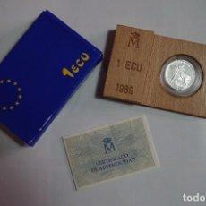 Monedas FNMT: 1 ECU - 1989 - PLATA FLOR DE CUÑO - EUROPA - CON ESTUCHE Y CERTIFICADO. Lote 90664640