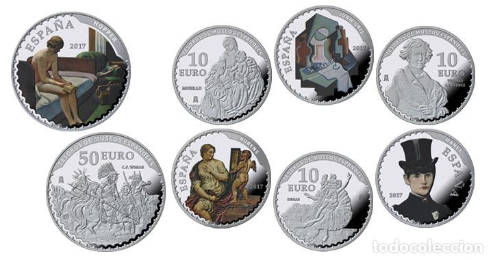 ESPAÑA: COLECCIÓN COMPLETA PLATA - V SERIE TESOROS DE MUSEOS ESPAÑOLES (Numismática - España Modernas y Contemporáneas - FNMT)