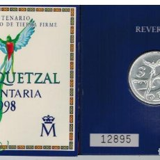 Monedas FNMT: CARTERA RUTA QUETZAL 3€ PLATA. Lote 98235503