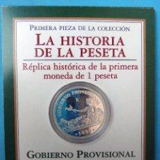 Monedas FNMT: MONEDA DE 1 PESETA DE PLATA, HISTORIA DE LA PESETA, CON ESTUCHE. FNMT , 1869 REPLICA , OFICIAL. Lote 103601119