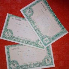 Monedas FNMT: LOTE DE 3 PAGOS AL ESTADO - TIMBRE DEL ESTADO - NUEVOS - 10 PESETAS - DECIMA CLASE. Lote 104893807