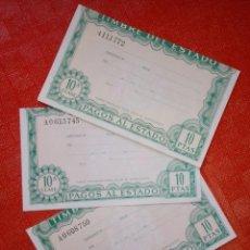 Monedas FNMT: LOTE DE 3 PAGOS AL ESTADO - TIMBRE DEL ESTADO - NUEVOS - 10 PESETAS - DECIMA CLASE. Lote 104893859