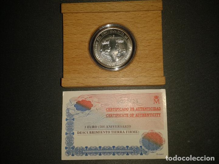 Monedas FNMT: Moneda 3 euros proof 500 aniversario descubrimiento Venezuela - Foto 2 - 144791738